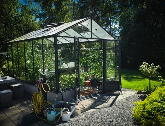 Växthuset vilar i sommarstiltjen.